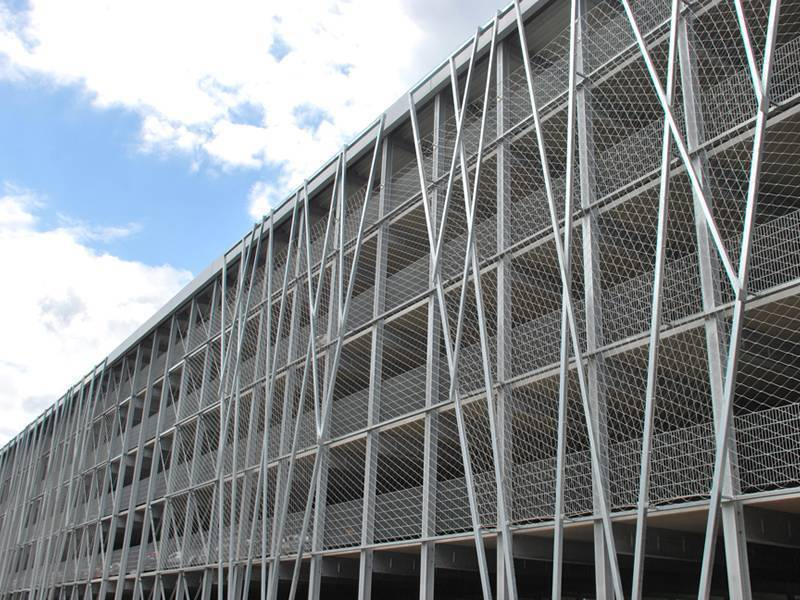 Wire Rope Woven Mesh Facade Installed On The External Of