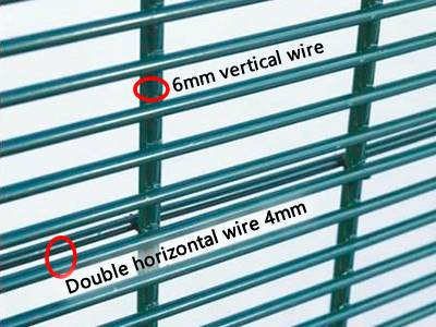 A close-up picture of 2D 358 high security fence with double horizontal wire and 6mm vertical strengthen wire.