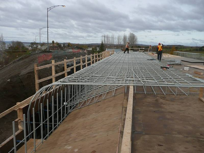 Concrete reinforcing mesh used for the bridge construction project.
