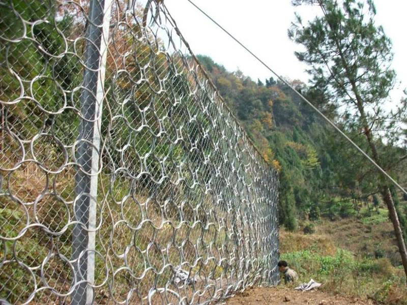 Chain link mesh with steel wire ring net used as passive rockfall barrier.