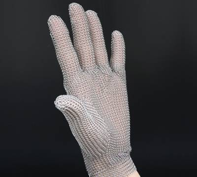 Five fingers stainless steel chainmail gloves.