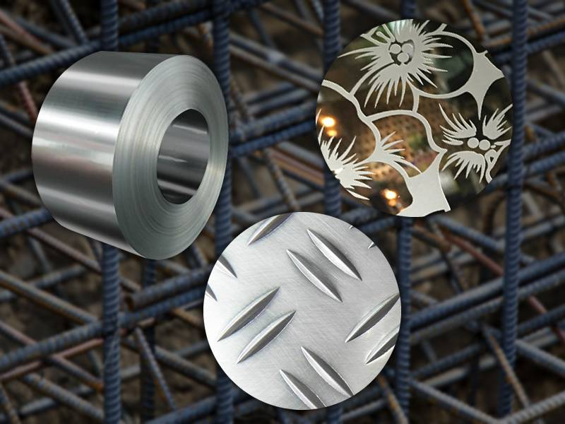 A summary of construction metal materials, there are rebar, checker plate, steel coils and metal etching plate.