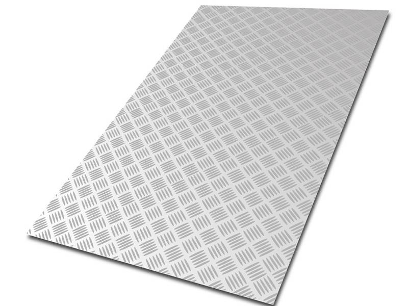 A close up of five pattern diamond plate. Its color is sliver.