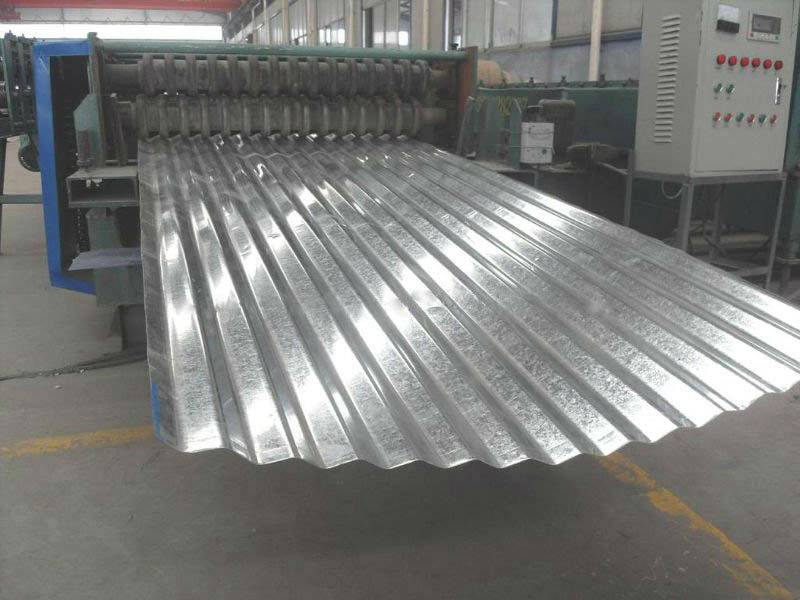A picture show the production process of corrugate steel plate.