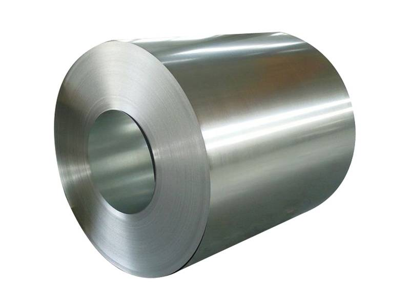 A close up of galvanized steel coil with smooth surface.
