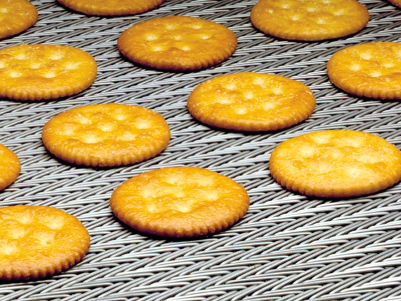 Compound weave conveyor belt used in food processing for baking biscuit.