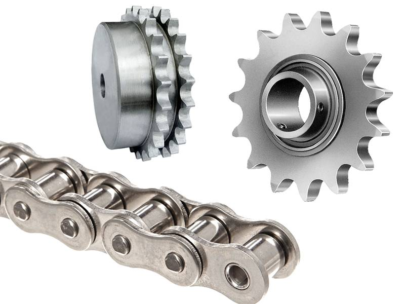 There are three conveyor belt accessories in the picture: roller chain, single strand and double strand sprocket.