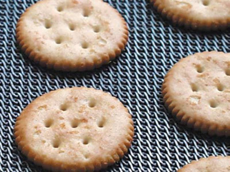 Several round biscuit on the flat rolled baking belt.