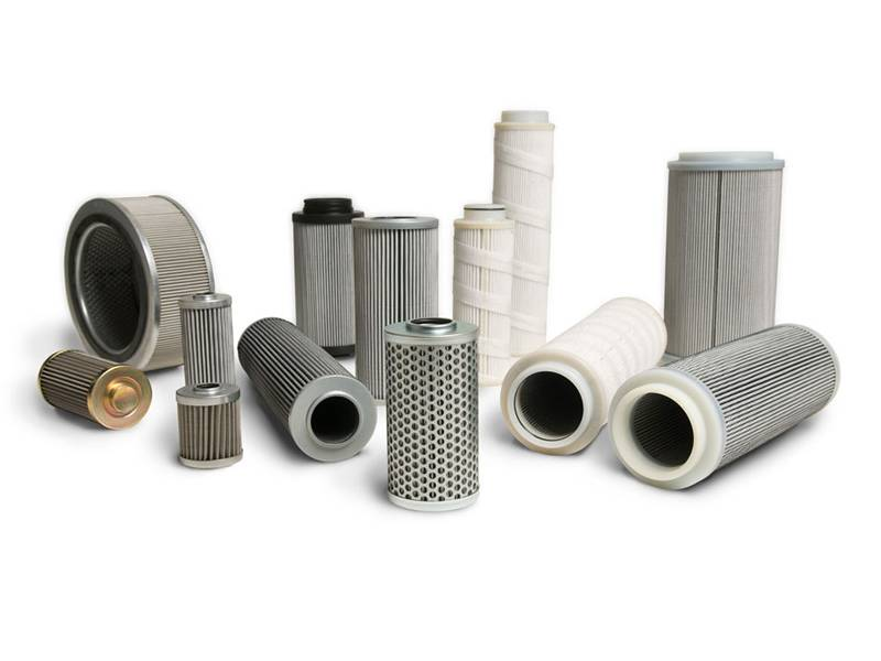A summary picture of oil filter elements made of different process and with a variety of shapes.