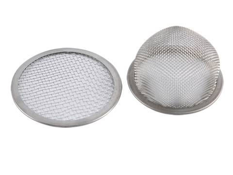 A close-up picture of woven wire mesh filter elements with metal end.