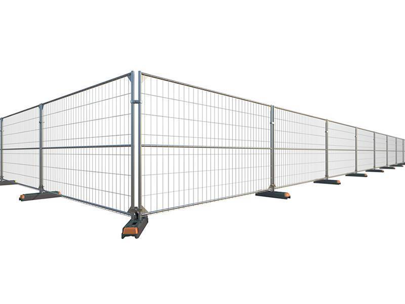 There is one galvanized portable temporary fencing and feet installed to support it.