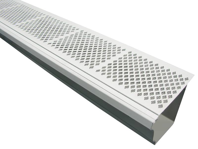 This is a gutter with diamond PVC gutter guard.