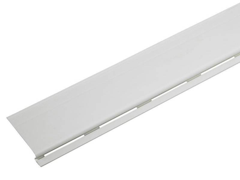This is a piece of white solid gutter guard.