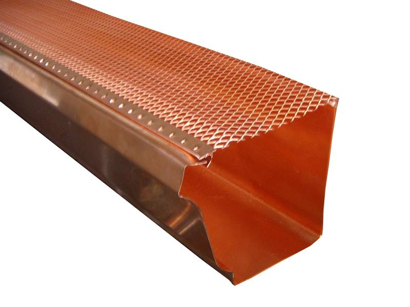 This is a copper gutter with gutter guards.
