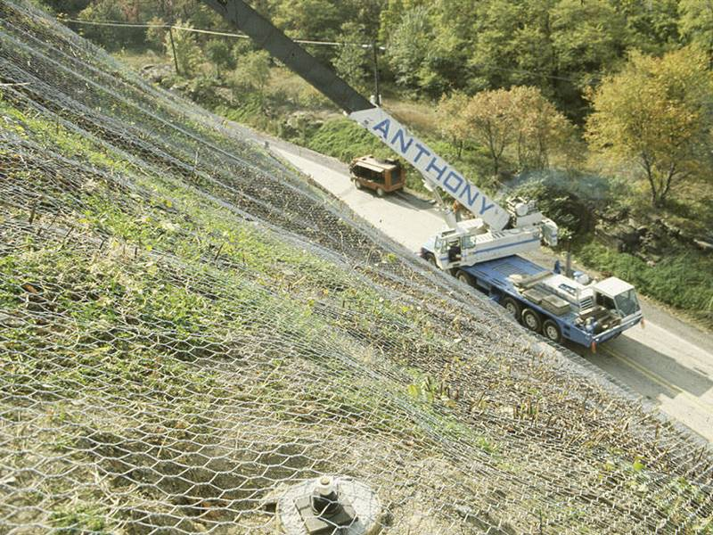 Hexagonal wire mesh used for slope rockfall barrier.