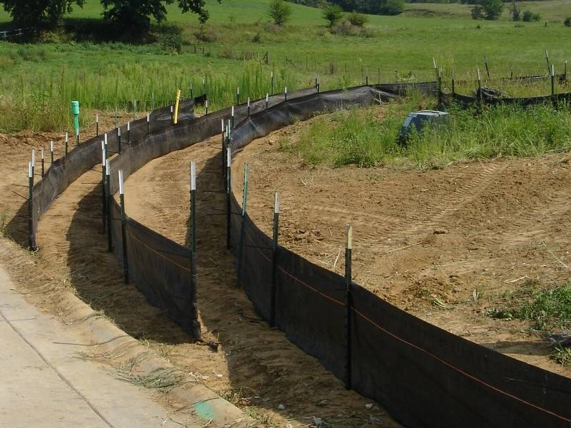 Filter Fence Used On Construction Site Roadside Along River