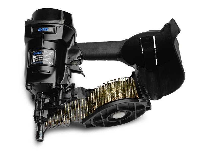 This is a black coil nail gun with coil nails in it.