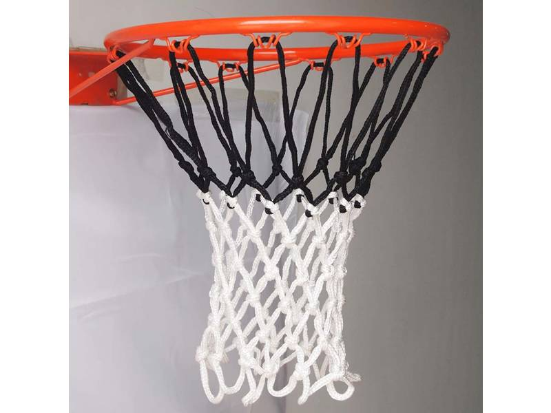 A basketball net that the top is black and the bottom is white.