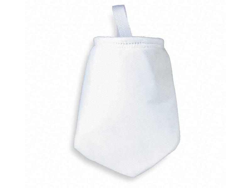 A white nylon filter bag with a belt on the white background.