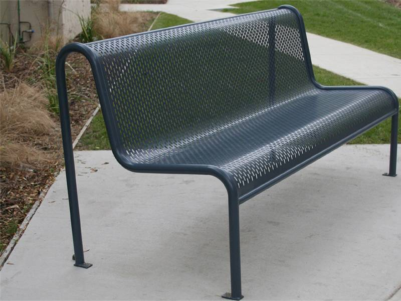 Perforated metal is made into chair or bench.