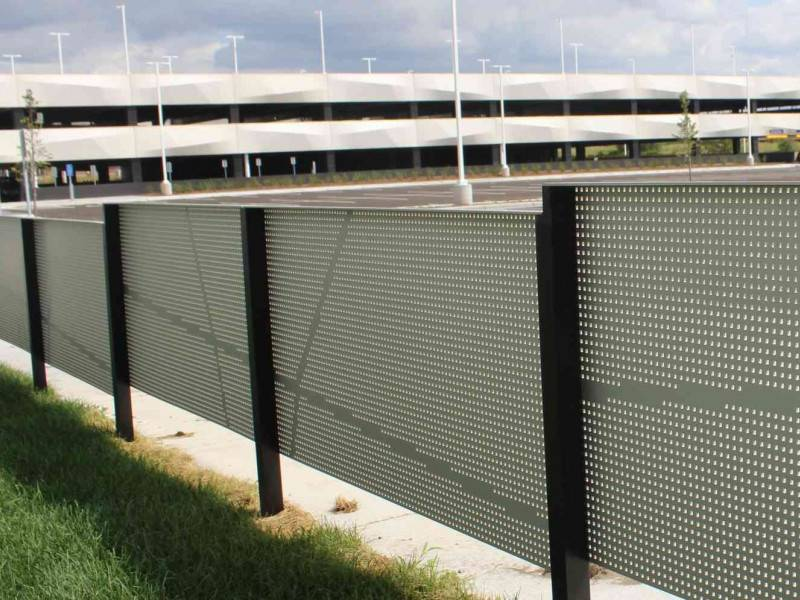 Perforated metal is mounted on the highway.