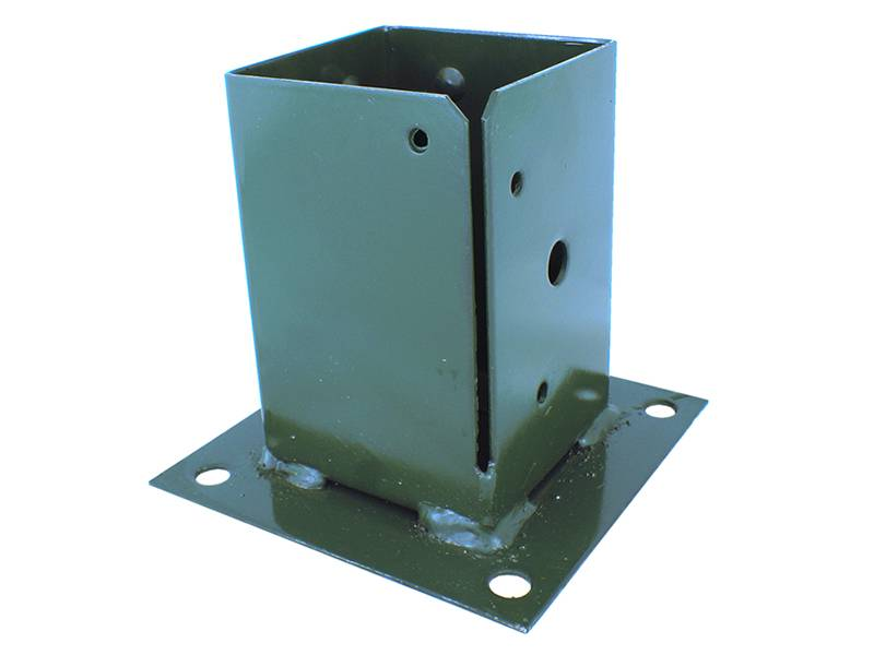 Green post base, the bottom plate is square and four edges have each one hole, the vertical part is rectangle with on opening and holes.