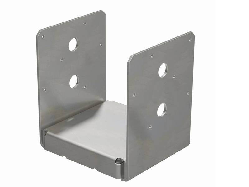 Post support is U-shape, and two of vertical plates have two big holes and six small holes.