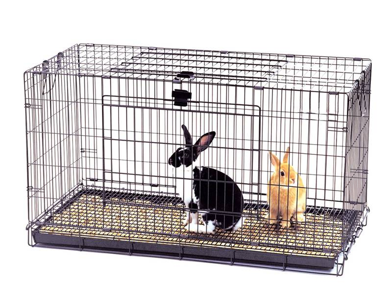 A rabbit cage with a black rabbit and a brown rabbit in it.