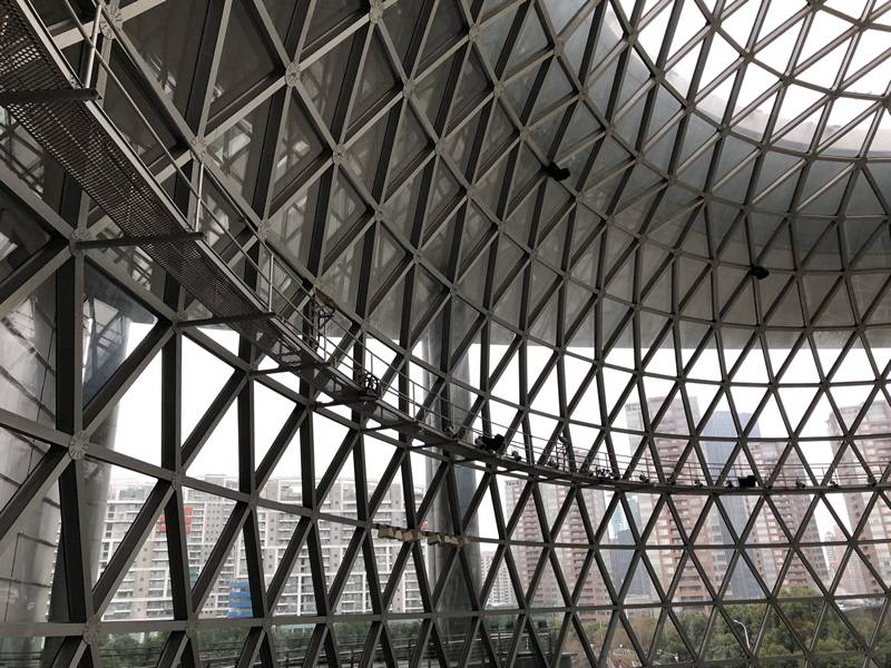 A picture about o-grip safety grating installed as high altitude maintenance platform for Shanghai Science and Technology Museum.