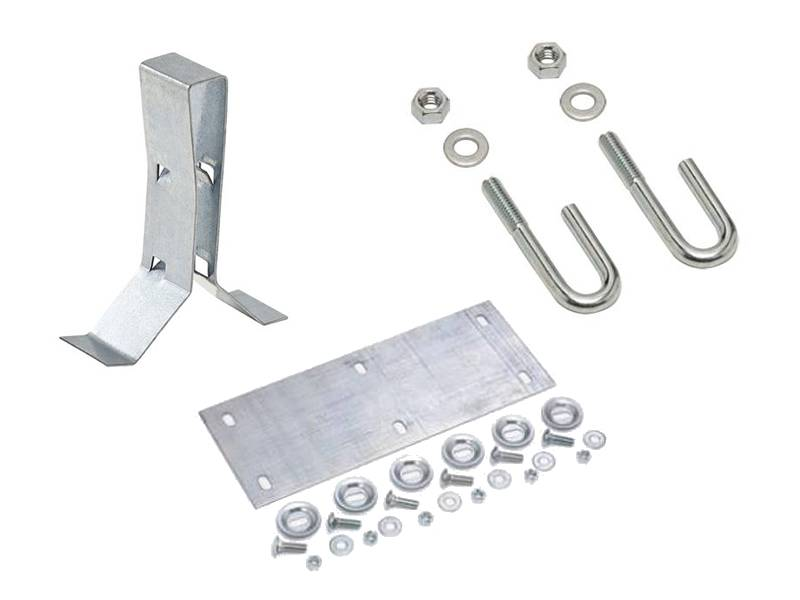 There are three accessories in the picture, they are: splice plate, J-bolts and hold-down clip.