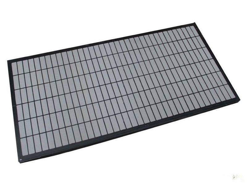 This is a piece of shale shaker screen with black composite frame.
