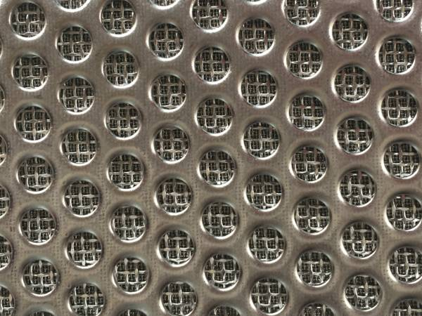 The detail of perforated sintered wire mesh.