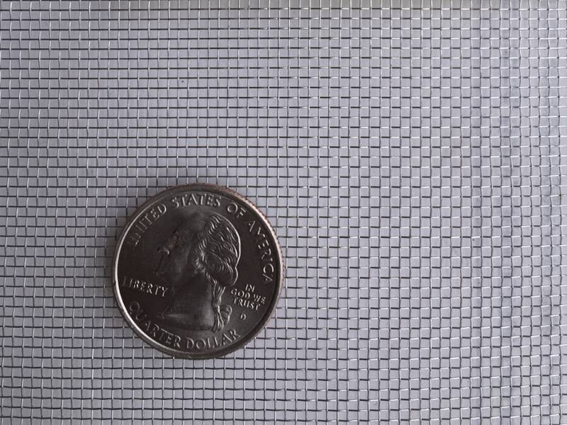 A coin placed on a piece of stainless steel window screen.