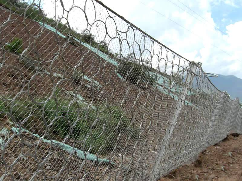 Steel ring net combined with chain link fence installed on the slope.