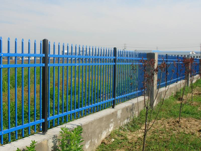 Blue wrought iron fence fixed on concrete slab, which make it more solid.
