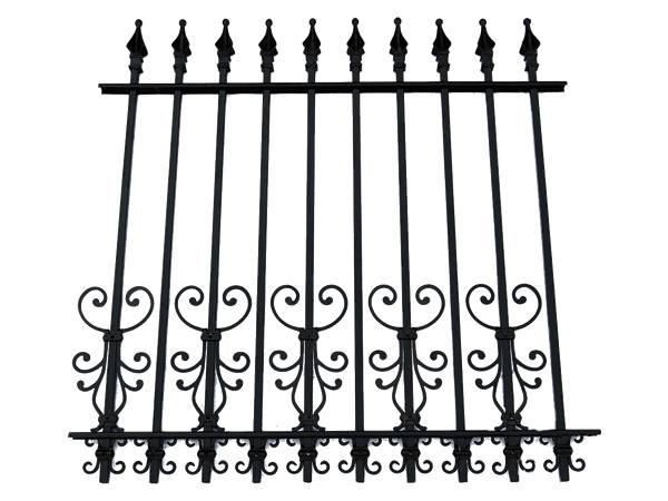 A sample picture of wrought iron fence with finial and decorative pattern.