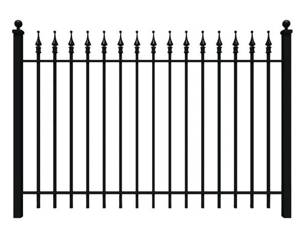 A sample picture of wrought iron fence with finial.