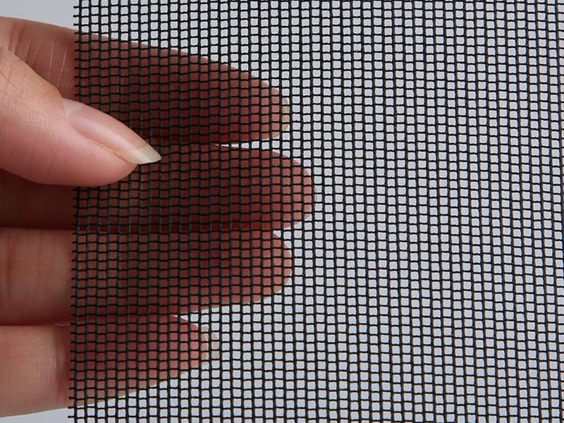 Black color sun shade insect screen in a hand.