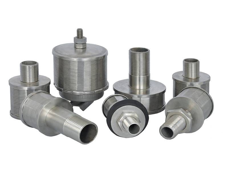 Several wedge wire nozzles with different types and sizes.