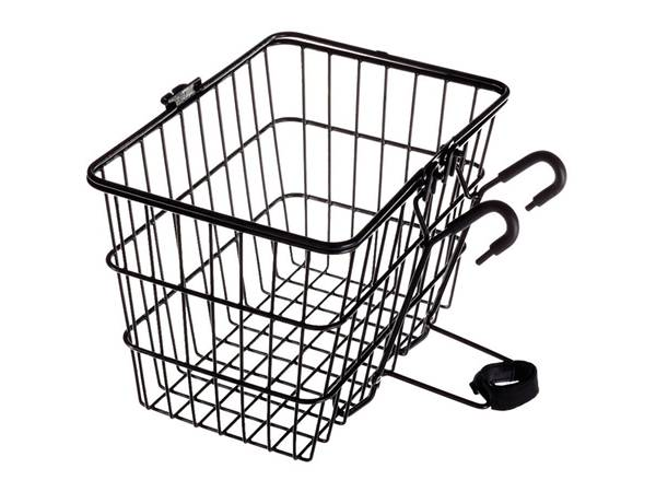 Bicycle basket with two hooks and fixture.