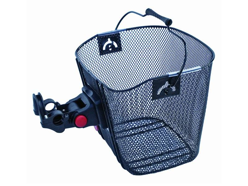 Small mesh hole bicycle basket with a metal handle and fixture.