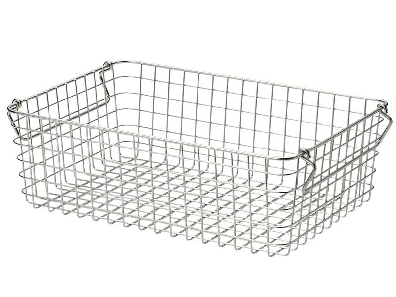 A rectangle welded stainless steel wire basket with two handles.