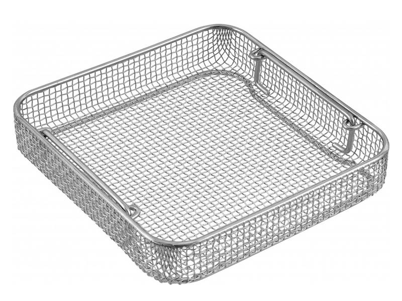 Woven square fine mesh basket without lid.
