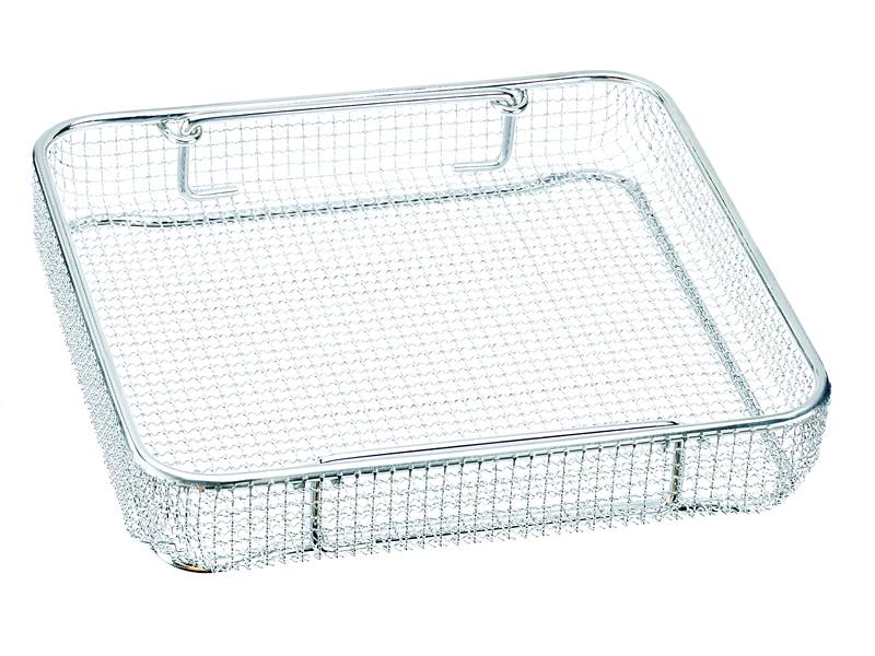 Surgical instrument tray without lid, and its mesh hole is square.