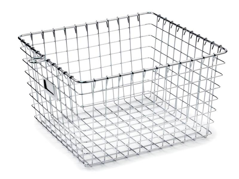 Square sterilization basket without lid, the mesh is same size square except corners.
