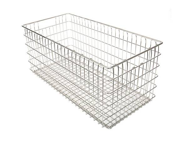 Rectangle sterilization wire basket without lid.