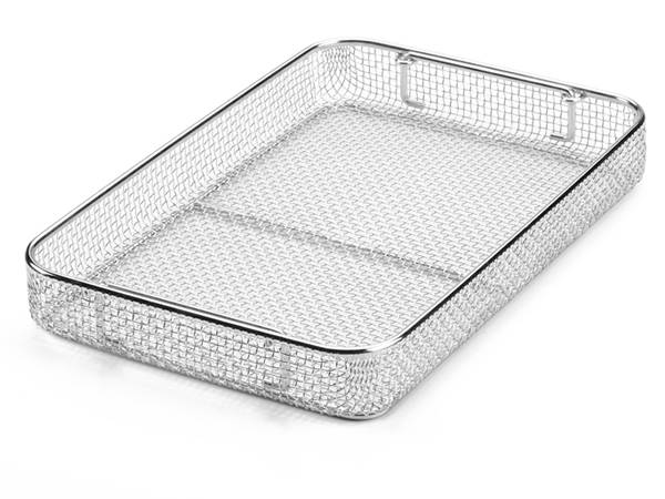 Rectangle surgical instrument tray made of electro-polished stainless steel.