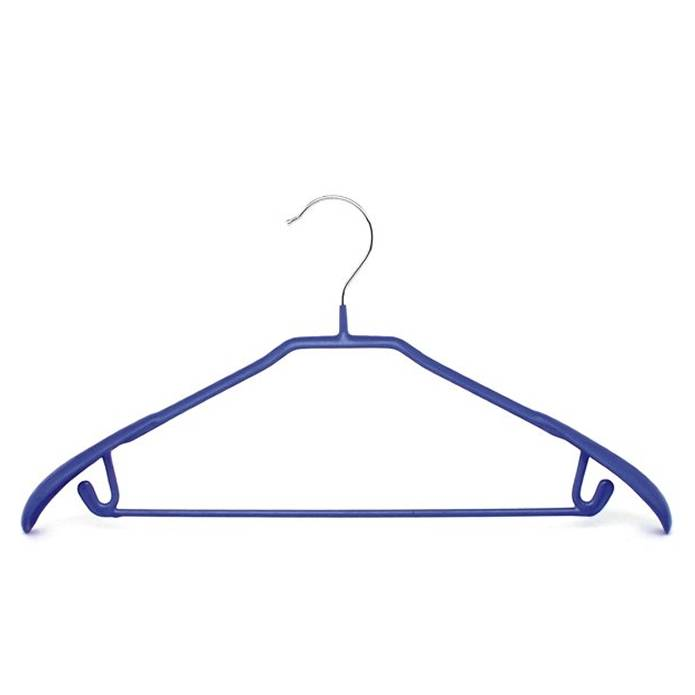 Wire hanger coated with PVC.