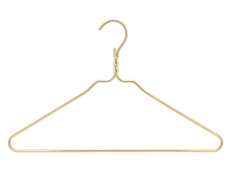 Gold aluminum hanger in the shape of  triangle.