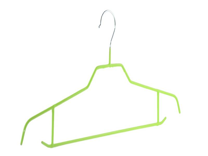 Bright wire hanger covered with green PVC coated.